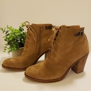 Lucky Brand Tan Leather Lace Up Booties LK-Echoh